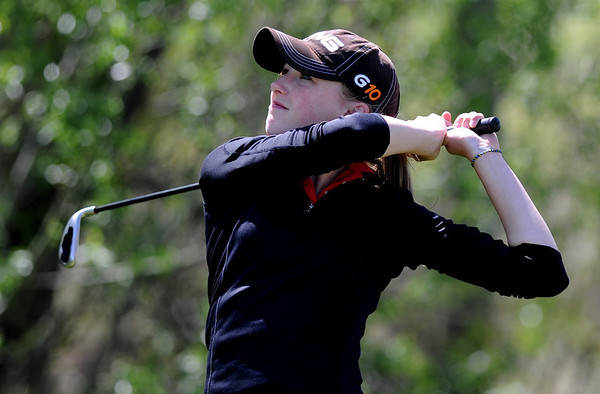 """Jordan Sunset of Fairview tees off at 10.<br /> The 5A Northern Girls Golf Regional was played at Coal Creek Golf Course in Louisville. <br /> For more photos of the high school golf, go to  <a href=""""http://www.dailycamera.com"""">http://www.dailycamera.com</a>.<br /> Cliff Grassmick/ May 10, 2011"""