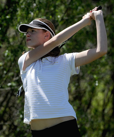 "Danielle Mercure of Skyline High School tees off at 10.<br /> The 5A Northern Girls Golf Regional was played at Coal Creek Golf Course in Louisville. <br /> For more photos of the high school golf, go to  <a href=""http://www.dailycamera.com"">http://www.dailycamera.com</a>.<br /> Cliff Grassmick/ May 10, 2011"