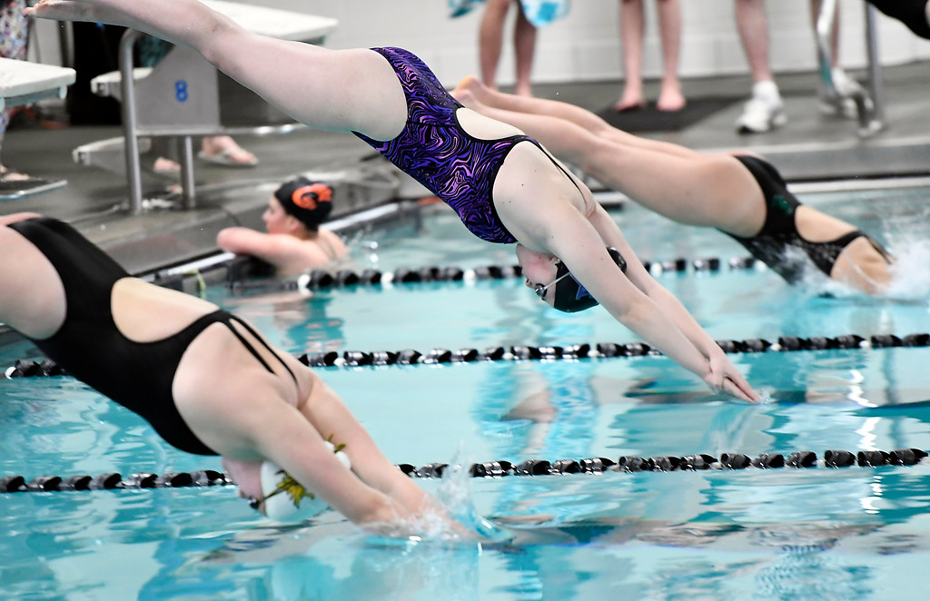. Mountain View\'s Grace Peterson during the 200 freestyle Friday, Feb. 3, 2017, during the Northern Conference Championships at Mountain View High School in Loveland.  (photo by Logan O\'Brien/ Loveland Reporter-Herald)