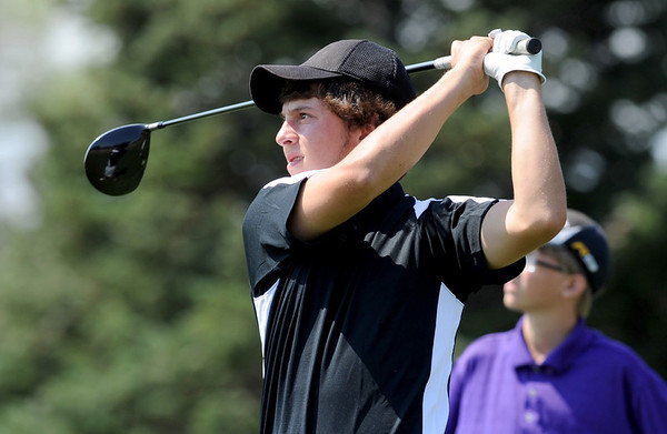 Dylan Wonnacott, of Silver Creek High School, tees off at hole two during the Northern League Golf Tournament on Friday.<br /> Cliff Grassmick  / August 10, 2012