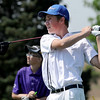 Alex Gorman, of Broomfield High School, tees off at  hole 2 during the Northern League Golf Tournament on Friday.<br /> Cliff Grassmick  / August 10, 2012