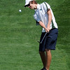 Luke Toillion, of Niwot High School, hits toward hole one  during the Northern League Golf Tournament on Friday.<br /> Cliff Grassmick  / August 10, 2012