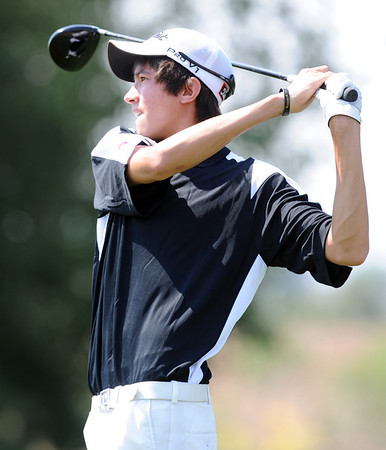 Jack Adolfson, of Niwot High School, tees off at  hole 2 during the Northern League Golf Tournament on Friday.<br /> Cliff Grassmick  / August 10, 2012