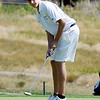Alex Gorman, of Broomfield High School, hits  toward the green at  hole one during the Northern League Golf Tournament on Friday.<br /> Cliff Grassmick  / August 10, 2012