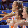 Matt Hamilton/The Daily Citizen<br /> Northwest cheerleading captain Hannah Chumley, 18, leads the team in a cheer during the Northwest/Gilmer girls basketball game Tuesday.