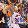 Matt Hamilton/The Daily Citizen<br /> NW22 Aubrey Young puts up a shot as L44Carlie Campbell defends Saturday.