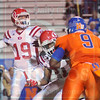 Matt Hamilton/The Daily Citizen<br /> D21 picks up the block on NW9 as D19 stands in the pocket and makes a throw Friday.