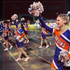 Matt Hamilton/The Daily Citizen<br /> NW cheerleaders lead the crowd at Heritage Friday.