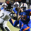 Matt Hamilton/Daily Citizen-News<br /> NW27 blitzes as SM2 fires a pass.