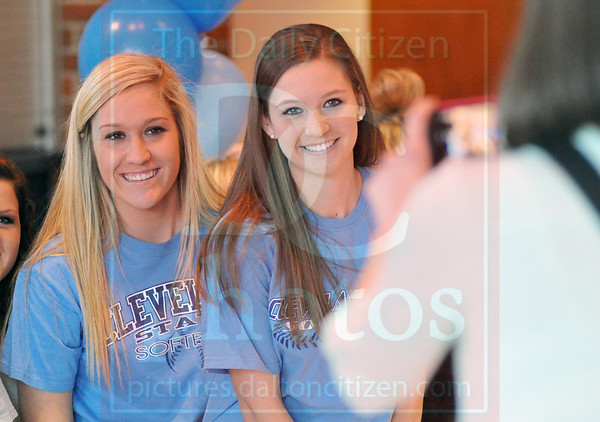 Matt Hamilton/The Daily Citizen<br /> Mallory Souther and Hannah Godfrey pose for a photo Wednesday.