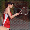 Matt Hamilton/The Daily Citizen<br /> D-Shelby Fromm returns a shot during her doubles match with partner Olivia Tidwell against NW Mary Kate Jones and Megan Richards.