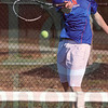 Matt Hamilton/The Daily Citizen<br /> NW Cody Bourff returns a shot during his match with D - Nathan Bryant.