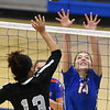Matt Hamilton/Daily Citizen-News<br /> NW14 Rachel Thurman and R13 Jayda Jenkins battle at the net for the ball.