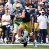 SAM HOUSEHOLDER | THE GOSHEN NEWS<br /> Notre Dame tight end Michael Mayer runs after catching the ball against Toledo Saturday.