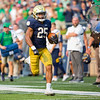 SAM HOUSEHOLDER | THE GOSHEN NEWS<br /> Chris Tyree runs with the football during the game against Toledo Saturday at Notre Dame Stadium.