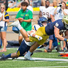 SAM HOUSEHOLDER | THE GOSHEN NEWS<br /> Notre Dame tight end Michael Mayer is tackled out of bounds during the game against Toledo Saturday.