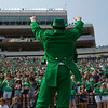 SAM HOUSEHOLDER | THE GOSHEN NEWS<br /> The leprechaun pumps the crowd up ahead of the Notre Dame-Toledo football game Saturday.