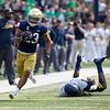 SAM HOUSEHOLDER | THE GOSHEN NEWS<br /> Notre Dame running back Kyren Williams runs for a touchdown against Toledo Saturday at Notre Dame Stadium.
