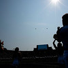 SAM HOUSEHOLDER | THE GOSHEN NEWS<br /> Two F-16 jets fly over Notre Dame Stadium ahead of the game Saturday at Notre Dame Stadium.