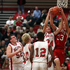 "Isaac Foreman (33) and Kyle Niebrugge (34) battle for a rebound during Effingham High School's ""Meet the Hearts"" event."