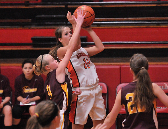 Alamont's Lauren Ohnesorge puts up a shot over Dieterich's Courtney Flach at the NTC Tournament.