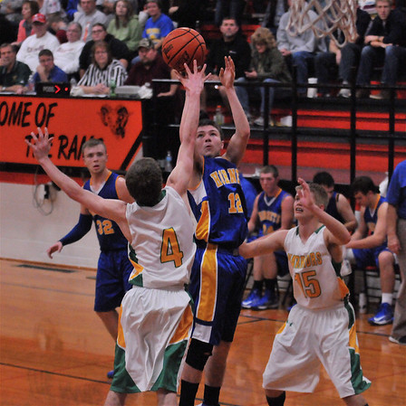 Cowden-Herrick's Caleb Heiserman puts up a shot inside against Patoka at the Ramsey/Mulberry Grove Thanksgiving Tournament.