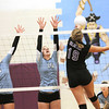St. Elmo's Megan Maxey (3) and Katie Stites (15) defend against Valmeyer's Paige Whipple at Valmeyer Supersectional.
