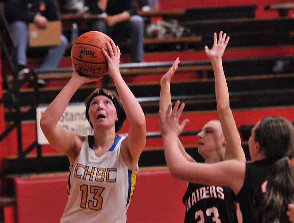 CHBC's Jensyn Morrison goes up for a shot in the Lady Hornets' loss to Central A&M at Beecher City High School.