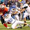 11-30-13<br />   Tipton HS Football State Championship Runner-up<br />   Tipton's Josh Snider, Brody Dell and Nate Hein bringing down Ritter's Jake Hagan in the first quarter.<br />   KT photo | Tim Bath
