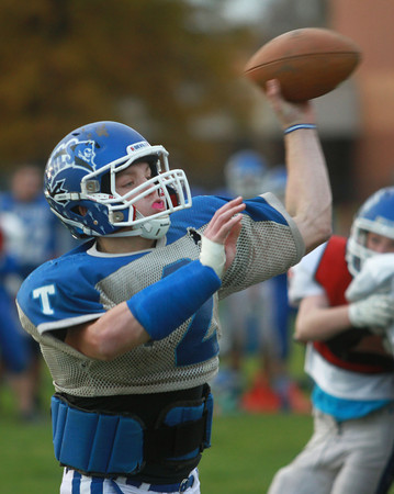 11-5-13<br /> Tipton football practice<br /> Austin Hooker looks to throw a pass during Tipton High School football practice.<br /> KT photo | Kelly Lafferty