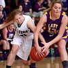 11-26-13<br /> Western vs. Northwestern basketball<br /> Western's Sarah Connolly and Northwestern's Whitney Zeck battle over the ball.<br /> KT photo | Kelly Lafferty