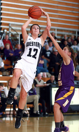 11-26-13<br /> Western vs. Northwestern basketball<br /> Western's Kiersten Durbin goes for the basket.<br /> KT photo | Kelly Lafferty