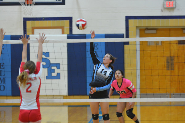 St. Elmo/Brownstown's Gabi Moore goes up for a kill attempt during the Eagles' regional game against Vandalia in October. Moore was named the EIC MVP.