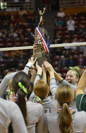 Brittani Tabbert (right) raises the IHSA Class 1A second-place trophy with her Stew-Stras teammates on in Normal.