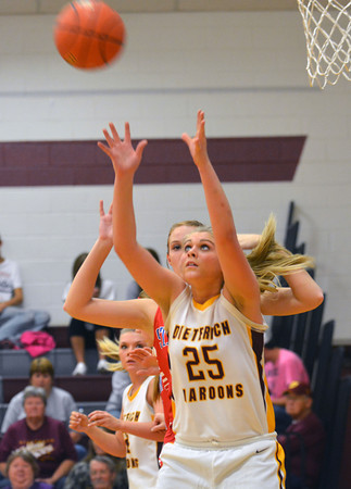 Dieterich's Mallorie Vahling establishes her position in the post and awaits an oncoming pass while being defended against St. Anthony.