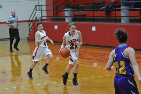 Neoga's Kelli Erickson triggers a fast break at the NTC tournament against Brownstown/St. Elmo.