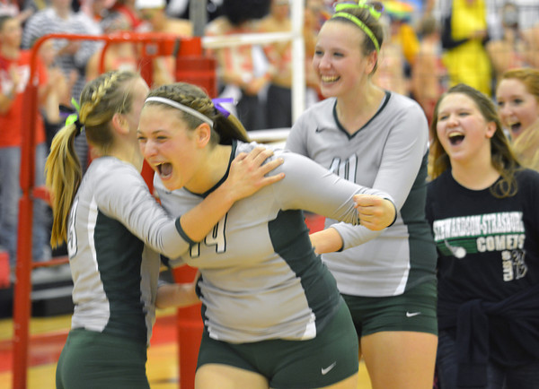 Lindsay Burton celebrates Stew-Stras' Super-Sectional victory with Kendall Knop and Brittani Tabbert.