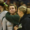 Baylee Quast (23) reacts during the IHSA Class 1A trophy ceremony, following Stew-Stras' loss in the state championship game against Keith Country Day in Normal.