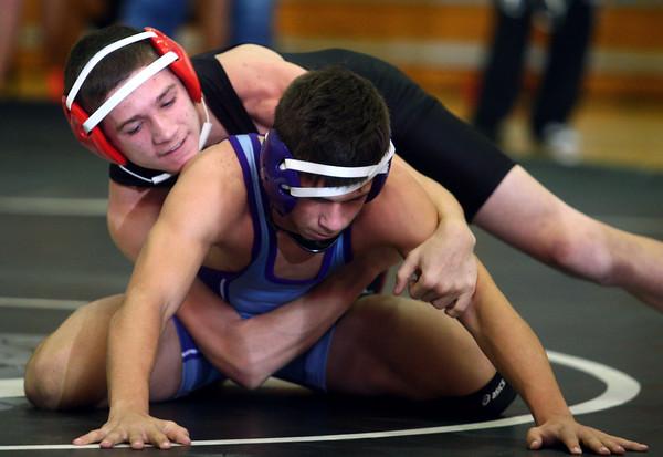 11-22-14<br /> Western wrestling<br /> Western's Tyler Lechner vs Leo's Dane Martin<br /> Kelly Lafferty Gerber | Kokomo Tribune