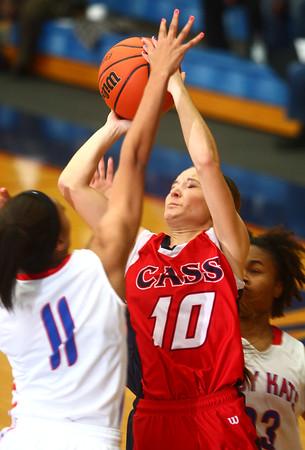 11-19-14<br /> Kokomo vs Cass basketball<br /> Savanna Thompson of Lewis Cass goes up for a shot.<br /> Kelly Lafferty Gerber | Kokomo Tribune