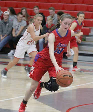 Kendra Nicley heads up court after a steal in the third quarter on Saturday night against Southmont.