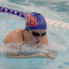 Stars' freshman Lauren Jones competes in the 100-yard breaststroke on Thursday. Jones had three event wins against the Mustangs.
