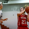 Neoga's Jaycie Roy looks to put up a shot over the defense of Windsor/Stew-Stras' Megan Schlechte. Roy hit the 1,000-point mark to start the season against Central A&M.