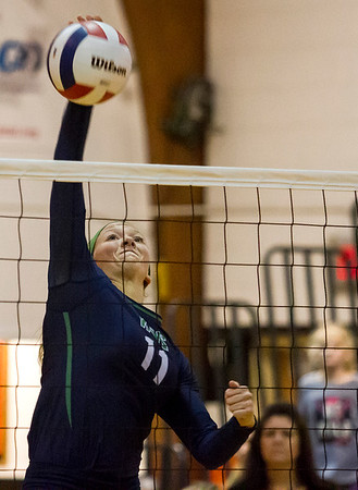 Windsor/Stew-Stras' Megan Schlechte connects with the ball during the sectional title match against Farmer City Blue Ridge in Fisher.