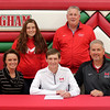 Effingham's Callaway Smith, center, signed official paperwork, committing to play golf at Maryville University come next fall. Pictured, left to right, are Gwyn Smith, Olivya Smith, Callaway Smith, Effingham boys golf coach Jeff Schafer and Doug Smith.