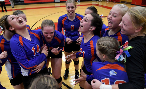 From left, Newton's  Mallory Bergbower, Grace Hartrich, Taylor Smith, Abby Frohning, Ali Bierman, and  Kristen Hardiek celebrate their Class 2A Vandalia Sectional championship win over Shelbyville.
