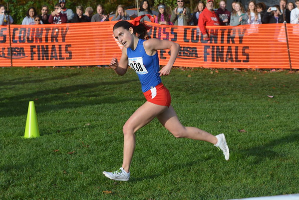 St. Anthony's Anna Sophia Keller makes her final steps during the Class 1A state cross country championships at Detweiller Park in Peoria. Keller won her fourth-consecutive state championship in the process.