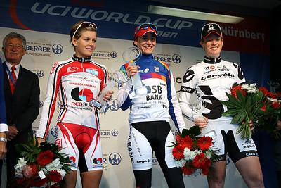 UCI Worldcup podium 2009: 1st Marianne Vos 2nd Emma Johansson 3rd Kirsten Wild