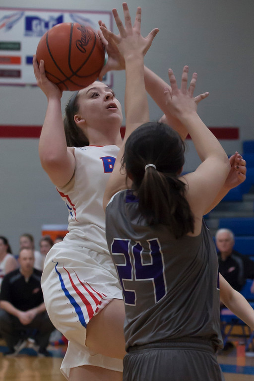 . Bay\'s Haley Andrejcak isn\'t deterred by Keystone\'s Taylor Stefan as she goes up for a shot. Jen Forbus -- The Morning Journal