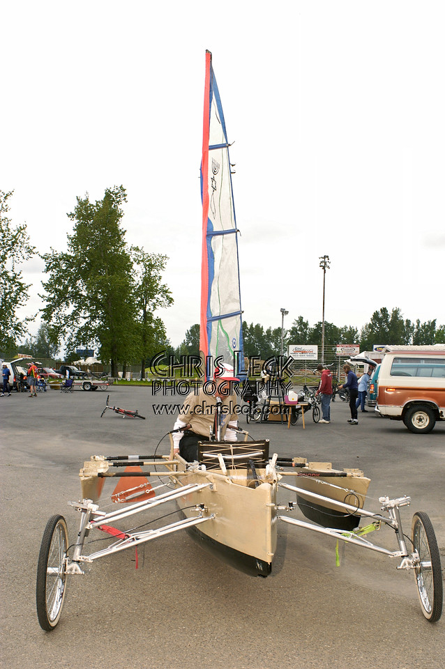 Tad Winiecki in his Shimon's Boat kinetic sculpture. Oregon Human Powered Vehicles 6th Annual Human Power Challenge, May 29, 2005, Portland International Raceway.